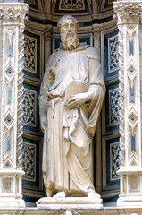 1. Donatello, Saint Mark, 1413, Or San Michele, Florence, Italy, marble. This sculpture stands 236 centimeters (or 7 feet and nine inches) high and is made out of marble. It was made during the Italian Renaissance and sculpted by Donatello. Donatello was from Florence, specialized in bas-relief, and trained under Ghiberti. The statue of St. Mark resides in the exterior niche of the Or San Michele church in Florence. The sculpture also incorporates the contropposto pose, which puts more weight on St. Mark's right leg. This sculpture has strikingly realistic characteristics such as the details of St. Mark's veins on his hands.