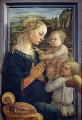 15. Fra Filippo Lippi, Madonna and Child with Angels, 1455, CE, Galleria degli Uffizi, Florence, tempera on wood. The Madonna depicted in the artwork is modeled after Lucrezia Buti, a nun whom he fell in love with. Lippi's variation is different from Cimabue's and Giotto's because his version is more playful and idealized with softer curves, whereas Cimabue's Madonna's expression is very serious and the figures depicted in the artwork are very stiff. The Madonna sits in front of a window, casting a shadow upon it to give the artwork a more intimate and 3-D look to it. Using tempera paint, Lippi applied paint the opposite color of the actual color he wanted.
