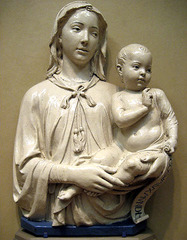 17. Luca della Robbia, Madonna and Child, 1460, CE, Or San Michele, Florence, Italy, terracotta with polychrome glaze. This is also known as