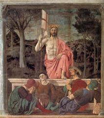 18. Piero della Francesca, Resurrection, 1463, CE, Palazzo Comunale, Borgo San Sepolcro, Italy, fresco. Francesca was influenced by Masaccio, Donatello, Veneziano, Lippi, Uccello, and Masolino. This piece alluded to the name of the city, which meant