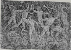 19. Antonio Pollaiuolo, Battle of the Ten Nudes, 1465, CE, Metropolitan Museum of Art, New York, engraving. This large engraving shows 5 men with and 5 men without head bands fighting in pairs with weapons. They all have different, strained athletic positions, and it is in a classicizing style, but the men grimace fiercely and there is strongly emphasized musculature. This uses a return-stroke engraving technique. Some say Pollaiuolo did not engrave the plate himself and hired specialists, but this is a minor view because engraving is an essential skill for Pollaiuolo's occupation, gold-smithing. He produced niello engraved plaques. This was the first print signed with the artist's full name on the left rear of the plaque.