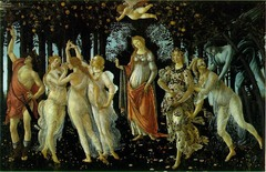 22. Sandro Botticelli, Primavera, 1482, CE, Galleria degli Uffizi, Florence, tempera on canvas. This painting by Botticelli from the High Renaissance era in Italy, also known as the