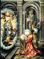 23-15A JAN GOSSAERT, Saint Luke Drawing the Virgin Mary, ca. 1520-1525. Oil on wood, 3' 7 1/8