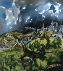 23-26 EL GRECO, View of Toledo, ca. 1610. Oil on canvas, 3' 11 3/4