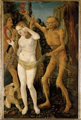 23-3A HANS BALDUNG GRIEN, Death and the Maiden, 1509-1511. Oil on wood, 1' 3 3/4