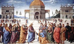 23. Perugino, Christ Delivering the Keys of the Kingdom to Saint Peter, 1483, CE, Sistine Chapel, Vatican, Rome, Italy, fresco. Also called The Delivery of the Keys, this fresco was created for the Sistine Chapel in Rome but was too large for Perugino to finish on his own, requiring the hire of additional painters including Ghirlandaio and Botticelli. Classic expressionism as well as sentimental piety are featured techniques of Perugino's and are apparent here along with the inspiration of Andrea del Verrocchio in the active drapery, complexity, refinement, and odd proportion. The painting shows Christ handing the keys of heaven to St. Peter while he is surrounded by other Apostles (each with a halo) in conjunction with portraits of contemporaries and one of the painter himself.
