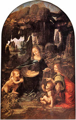 24. Leonardo da Vinci, Virgin of the Rocks, 1485, CE, Louvre, France, oil on wood. Two nearly identical paintings with this name were created by da Vinci around the same time during the High Renaissance in Italy; the above is housed in the Louvre and can be distinguished only because of the differences in the angel's gesture. They show the Virgin Mary and the Christ Child with a baby John the Baptist (patron saint of Florence) and an angel surrounded by rocks, an allegory not featured in the Bible. Techniques used by da Vinci in this painting include sfumato which is a way of painting without lines or borders, one of four canonical modes of the Renaissance; expressionism and realism are also apparent.