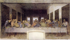 26. Leonardo da Vinci, The Last Supper, 1498, CE, Refectory, Santa Maria delle Grazie, Milan, Italy, fresco (oil and tempera on plaster). The mural shows the individual reactions of each of the twelve disciples of Christ in contrast with Jesus' own stoic expression as they sit while sharing his last supper before the betrayal; it is highly realistic and contains references to the Holy Trinity in the way the disciples are grouped: Bartholomew, James, son of Alphaeus and Andrew (all surprised), Judas Iscariot, Peter and John (taken aback, angry, swooning), Thomas, James the Greater and Philip (upset, stunned, requesting explanation), and Matthew, Jude Thaddeus and Simon the Zealot (turned toward Simon for help). Dynamic tension, dry wall application with chromatic oil, and contemporaries in place of the images of the disciples are all technical choices made by da Vinci. It was commissioned by Duke Lodovico Sforza and was completed one year before the French invasion.