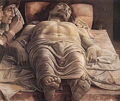 27. Andrea Mantegna, Dead Christ, 1501, CE, Pinacoteca di Brera, Milan, tempera on canvas. This painting by Italian Renaissance artist Andrea Mantegna depicts the dead body of Christ on a marble slab. The Virgin Mary and St. John weep and watch over Christ. This lamentation is different than most Lamentations of the time period which showed more contact between mourners and the body of Christ. Mantegna uses contrasts of light and shadow which gives the painting a sense of pathos. The realism and tragedy of the scene are increased by the use of violent perspective. The drapery the Christ has on also increases the dramatic effect of the painting. The faces of the mourners and holes in Christ's feet do not have any idealism or rhetoric. Mantegna represents emotional and physical trauma in his Lamentation of Christ.