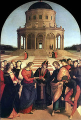 28. Raphael Sanzio, Marriage of the Virgin, 1504, CE, Chapel of Saint Joseph in Citta di Castello, near Florence, Italy, Pinacoteca di Brera, Milan, oil on wood. This painting by Raphael depicts the marriage between Mary and Joseph. It was completed for the Franciscan church in Citta di Castello and commissioned by Filippo degli Albezzini. Originally Raphael's teacher Perugino was supposed to paint this painting but he was absent at the time so Raphael painted it. Raphael added many affects which make the character more fluid and it seems like they have more movement. Raphael also made the painting have a 3-dimesional appearance. Many details were also added to the clothing and building which makes the painting seem more realistic.