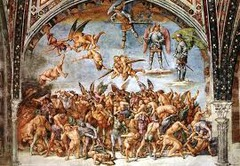 29. Luca Signorelli, Damned Cast into Hell, 1504, CE, fresco. A chilling propaganda piece by Signorelli, he attempts to scare the citizens of Italy by depicting a large mass of bodies trying to fight off demons who have come to torture them for their sins. They suffer due to their immorality and Signorelli depicts them writhing in pain through their agonizing facial expressions as well as the unnatural contortions of their bodies. Signorelli groups them in such a large mass to dehumanize them, losing their individual importance to the viewer as well as to St. Michael above. His stern expression demonstrates his disregard for their suffering due to their sins.