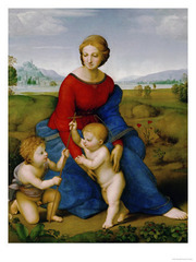 30. Raphael Sanzio, Madonna of the Meadows, 1505, CE, Kunsthistorisches Museum, Vienna, oil on panel. This is Madonna del Patro painted by Raphael. The painting depicts three figures in a green meadow touching hands. The figures are the Virgin Mary, Christ, and John. The Virgin Mary is in an elongated pose. The Virgin Mary wears blue which symbolizes the church and also red which symbolizes Christ's death. The poppy in the background of the figures refers to Christ's passion, death, and resurrection. Each of the figures are linked in some way. Christ reaches out to touch John's cross while The Virgin Mary holds him.