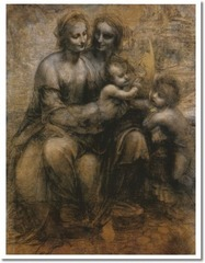 31. Leonardo da Vinci, Virgin and Child with St. Anne and the Infant St. John, 1507, CE, National Gallery, London, charcoal heightened with white on brown paper. This painting by da Vinci was a cartoon- a rough outline that would have been later transferred to a larger canvas by tracing the outline. The painting depicts Anne, the mother of Mary and Jesus' cousin St. John as a child. Leonardo wanted to depict the eternality of the family and did so by joining them through common lines that run from Anne, through to Mary and then to Jesus and John. The glances of the group follow a similar pattern ending with Jesus looking up at Anne's pointed finger, prophesizing his entrance into heaven.