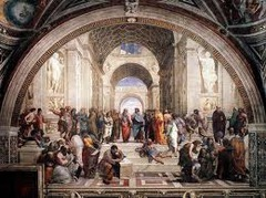 33. Raphael Sanzio, Philosophy (School of Athens), 1511, CE, Stanza della Segnatura, Vatican Palace, Rome, Italy, fresco. This painting, commissioned by Pope Julius II to be put in his personal library was part of a larger set of paintings depicting the four divine causes. This one, dedicated to philosophy, depicts all of the great classic thinkers. The masters of grammar, geometry, astronomy, rhetoric and dialect, and music are represented by depictions of Ptolemy, Pythagoras, Socrates, and many others. Using linear perspective, Raphael highlights the two most influential thinkers, Plato and Aristotle discussing the ways of human perception. Ultimately, these depictions demonstrate the level of reverence with which the Renaissance scholars regarded their classical forebears and their discoveries.