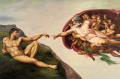 37. Michelangelo Buonarroti, Sistine Chapel Ceiling, 1512, CE, Sistine Chapel, Vatican City, Rome, Italy, fresco. Commissioned by Pope Julius II, 5000-square-feet curved ceiling of buon fresco with unusual bright colors later inspired Mannerism. On the edges, trom p'edoil and grisaille create sculptural images and illusionistic architectures. Typical Michelangelo monumental, masculine human figures show Classical idealism. Divinity of characters is shown through body movements rather than with halo or wings. Continuous narrative in central rectangular area depicts scenes from the Book of Genesis. Michelangelo used chiaroscuro with consideration of the direction of natural light. No two figures out of three hundred are in the same pose; some - puti figures - are for artistic expression, not for narrative.