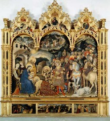 4. Gentile da Fabriano, Adoration of the Magi Altarpiece, 1423, CE, from Santa Trinita, Florence, Italy, Galleria degli Uffizi, Florence, tempera on wood. Commissioned by Palla Strozzi, this piece is a large tempera on wood. This piece is of international gothic style, and the individuals painted all wear elegant and fancy clothing. Palla Strozzi and his father (named Onofrio) are located in the painting (Palla as the man in a red hat in front of the painting and his father as a falcon hunter). In the painting, you can also see a variety of animals like: horses, apes, lions, leopards, oxes, and an Arabian camel. Also, another important thing to note is the kneeling stool of the painting, or Predella, has 3 paintings that consist of: the Nativity, the Flight into Egypt, and the Presentation at the Temple. Another important thing to note about the painting is that though the figures in the painting are not entirely realistic, they are anatomically correct.