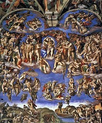 44. Michelangelo Buonarroti, Last Judgment, 1541, CE, Sistine Chapel, Vatican City, Rome, Italy, fresco. Christ is set at the center of the artwork, classical, and nude, showing humility. Around Christ are the Virgin, the Saints, and the Elect, awaiting the verdict. St. Bartholomew, holding his own skin, might be a self portrait of Michelangelo. Hellenistic influence is seen with exaggerated muscles and aesthetics of pain. It was commissioned by Pope Clement VIII, and clothing was added to the figures by him due to cultural norms. The left has the saved, ascending to heaven; the right holds angels and devils pushing the damned to hell. At the bottom is Charon, leading damned to Minos.