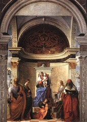 49. Giovanni Bellini, San Zaccaria Altarpiece, 1505, Santa Zaccaria, Venice, Italy, oil on wood transferred to canvas Giovanni Bellini was the best known of the Bellini Venetian painters. He was a teacher to Giorgione and Titian and introduced oil painting. The altarpiece, more specifically known as the Virgin and Child Enthroned with Saints, is a sacra conversazione or