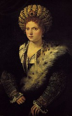 51. Titian, Isabella d Este, 1536, Kunsthistorisches Museum, Vienna, oil on canvas. This oil on canvas painting depicts the Marquess of Mantua, the daughter of the Duke of Ferrara. Though she is shown as a young woman, she was actually 62 when this work was painted. Titian originally painted the older version of her, but she was so disgusted that she made him paint her 40 years younger. In order to give Titian an idea of what she desired, she sent him a younger portrait of her by Giovanni Francesco Zaninello. Titian focuses on her high social rank, beauty, and intelligence. She is shown wearing a balzo and gown with gold and silver trim on the sleeves.