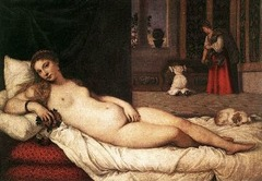 52. Titian, Venus of Urbino, 1538, Galleria degli Uffizi, Florence, oil on canvas. A young nude woman is depicted (goddess Venus?) in a lavish Renaissance palace. Her pose is based on a work of Giorgionne called Sleeping Venus. She looks directly at the viewer and is placed in an erotic pose. Titian domesticates her by placing her in an indoor setting and the dog behind her symbolizes fidelity. It originally would have decorated a cassoni or chest given as a wedding present. Complex spatial environment is evident with the woman placed forward, the servants in the middle, and the plants in the background. It was commissioned by the Duke of Urbino, Guidobaldo Il della Rovere and was actually intended to serve as a model for his young bride. This painting inspired Manet's Olympia.