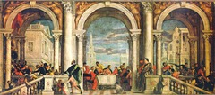 53. Paolo Veronese, Christ in the House of Levi, 1573, CE, Galleria dell Accademia, Venice, oil on canvas. Measuring at 18x42 feet, this painting is one of the largest from the 1500s. It was commissioned by the Dominican order of SS. Giovanni as a Last Supper painting to replace an earlier work. The previous one, by Titian, was destroyed in a fire in 1571. The painting by Veronese depicts a banquet with Christ, clothed in a green robe, in the center. He is surrounded by people in extravagant costumes and various poses. The scene is framed with pillars and archways and a staircase on the right. Veronese was investigated by the Roman Catholic Inquisition for irreverence and heresy for depicting