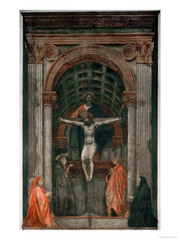 9. Masaccio, Holy Trinity, 1428, CE, Santa Maria Novella, Florence, Italy, fresco. This buon fresco by Masaccio was patronized either by the Lenzi or Berti family as a tombstone. This depicts a crucifixion scene with Jesus on the cross with Mary and Saint John at Christ's feet. This Mary is different from other contemporary Mary's in that the Virgin actually looks like an old woman. The dove above Christ's head symbolizes the Holy Spirit, while God behind Jesus completes the Holy Trinity. God is depicted as a man instead of a hand (like medieval art). Masaccio uses linear perspective in the Brunelleschi-inspired architecture. The tomb on the bottom is a memento mori.