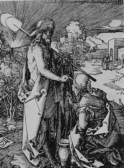 CHRIST AND MARY MAGDALENE. FROM AN ETCHING BY ALBRECHT DURER. COURTESY OF THE METRO- POLITAN MUSEUM OF ART