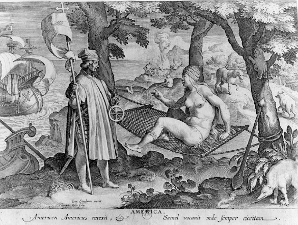 Giovanni Stradano, America in the Nova Reperta series, late 1580s. Engraving. Bridgeman-Giraudon/Art Resource, NY.