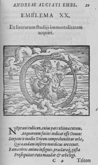 Mercure Jollat, Emblem 133 in Andrea Alciati, Emblematum liber. Paris, 1534. Woodcut. Spencer Collection, The New York Public Library, Astor, Lenox and Tilden Foundations
