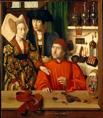 A Goldsmith in His Shop by Christus, 15th Cen. N Renaissance  - possibly st Eligius, who was originally goldsmith  - religious and secular realms  - importance/sacredness of marriage - couple being showed set of rings, bride's girdle on table - chastity .. discarding chastity to be married  - crystal container for eucharistic wafers, next to scales w/last judgement - pattern of commerce - goldsmith's guild commission/advertising? - special stones, various pieces of jewelry, pewter jugs as gifts, importance of guild - meticulous detail, minaturistic  - convex mirror in foreground, better involvement shows reflection of viewers