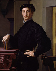 Agonola Bronzino. Portrait of a Young Man. Bronzino paints portraits in a typical Mannerist style that includes: reserved formatility, lack of emotion, calculated sense of assurance in the subject.