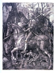 Albrecht Durer  Knight, Death, and the Devil  1513 Engraving  - Durer's Christian knight, armed with his faith, rides fearlessly through a meticulously rendered landscape, challenging both Death and the Devil. The engraving rivals the tonal range of painting