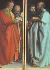 Albrecht Durer Four Apostles 1526  Oil on wood  - Durer's support for Lutheranism surfaced in his portrait-like depictions of four saints o two painted panels. Peter, representative of the pope in Rome, plays a secondary role behind John the Evangelist - Mark and Paul on the right panel