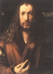 Albrecht Durer Self-Portrait  1500 Oil on panel  - Making direct eye contact with the viewer  - Made to look Jesus-like