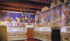 Allegory of a Good Government by Ambrogio Lorenzetti, Proto-Renaissance - part of room - what good govt should be - allegory of good gov in center, virtues around him: justice, prudence, temperance, foritude, peace, magnanimity, faith, hope, charity all part of what is good - Siena and other towns represented what could be good, even in dark ages, people needed reminders of what was just and fair  - wanted to reform entire city, people painted as if coming to admire