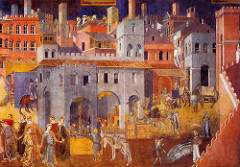 Allegory of Good Government/The Good City, Ambrogio Lorenzetti, 1338, Sala del Nove, palazzo pubblico