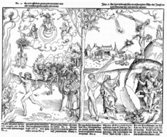 Allegory of Law and Grace Lucas Cranach the Elder. c. 1530 C.E. Woodcut and letterpress The practice of imbuing narratives, images or figures with symbolic meaning to convey moral principles and philosophical idea