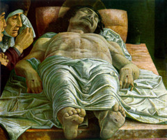 Andrea Mantegna, Dead Christ c. 1501, Tempera on canvas -Most radical experiment in foreshortening yet -What is more important: Display of artist's virtuoso skill or subject of worship or Christ?