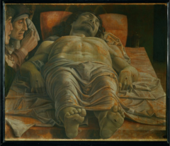 Andrea Mantegna. Italian. Lamentation over the body of Christ, c. 1500. Early Renaissance. -master of perspective -strikingly realistic, biblical scene, careful linear perspective, Mantegna reduces the size of his feet, otherwise would have covered body -tempering naturalism with artistic language,