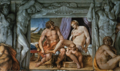 Annibale Carracci, Italian. Venus & Anchises, Farnese Palace, Ceiling, 1597-1601. Baroque. -VENUS -intended origninally for the sculpture glallery of the family -looks a lot like Michelangelo -colleciton of sculpture they had would have been on the floor -relates to Trojean war -Baroque classicism -different layes, architecture surrounding carry,