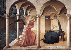 Annunciation by Fra Angelico, 15th Cen. Italian Ren - Fresco - top of stairs leading to friar's quatrters - inscription warnig heysayers  - architectural settibg, pointed arxches - composite - mary frail, concave, defined space - detailm nature  - faavric really beutiful, spirituall