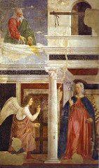 Annunciation by Piero Della Francesca, 15th Cen. Italian Ren - 4 legends from Legend of the true cross, true one was magical - mathematical precision, geometry - light and color  - darker, but hint of blond palate - shadows not grey or black, but instead blues and purples  - geometry in organization, shape of figures, 3D - bodies larger than heads = trying to focus on triangles over proportioning - Virgin has vacancy, detatchment  - scene flooded with light, center is darkest