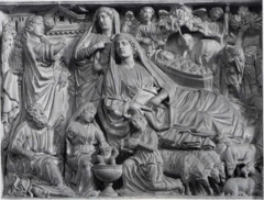 Annunciation, The Nativity, and the Annunciation to the Shepherds, Nicola Pisano, 1260, panel from pulpit in Pisa Baptistry, marble