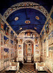 Arena Chapel by Giotto, Proto-Renaissance  -built for wealthy merchant near palance -rectangular barrel-vaulted hall, six windows, well-illuminated  -real play of light/shadow from real window painted into panels - north wall: christian redemption, other pictures w/life of christ, many  - top-mary and parents, middle-life and mission of christ, 3rd-crucifixion and resurrection, last-made to look like painted marble, grisalle, like illusion supposed to represent virtures/vices  - ceiling blue w/stars representing heaven, blue unifies w/use throughout chapel, medallions of christ, mary, prophets -black rods to support walls