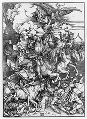 Artist: Albrecht Durer Title: Four Horsemen of the Apocalypse Place: Germany Time: 1500