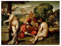 Artist: Giorgione Style: Renaissance Medium: Oil on canvas Museum/City: Louvre, Paris Connection: Inspired Titian's smooth oil paintings with bright colors 1. The painting was secular, unusual for the time 2. The lack of attention to the women by the men is an uncommon depiction 3. The painting has an unusual perspective, odd compared to the perfect linear perspective used by other colors