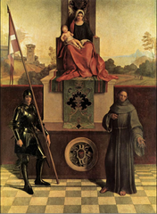 Artist: Giorgione Style: Renaissance Medium: Oil on panel Museum/City: Cathedral of Castelfranco, Veneto Connection: Inspired by Da Vinci/Raphael's triangle composition 1. Was designed as an altarpiece 2. Was painted the year of the artist's execution 3. Paid homage to the artist's Italian hometown