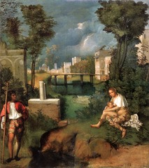 Artist: Girgione Title: The Tempest Place: Venice, Italy Time: 1510