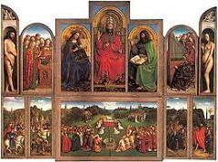 Artist: Jan Van Eyck Title: Ghent Altarpiece Place: St. Bavo Cathedral, Ghent, Belgium Time: 1430