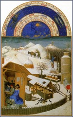 Artist: Limbourg Brothers Title: February, from Les Tres Riches Hearts du Duc de Berry Time: 1410